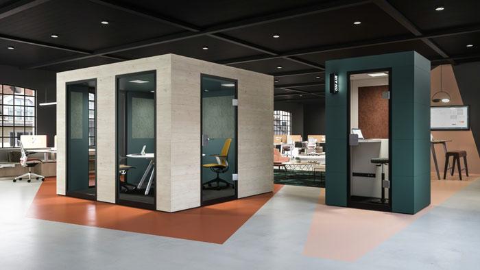 Controllo dell'acustica con mobili per ufficio e design del posto di lavoro camere acustiche
