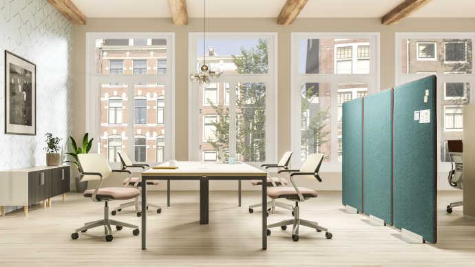 Controllo dell'acustica con mobili per ufficio e design del posto di lavoro